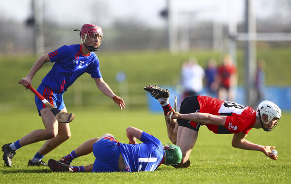 UCC's David Griffin is tackled by Mary Immaculate's Gary Cooney. Picture: INPHO/Ken Sutton