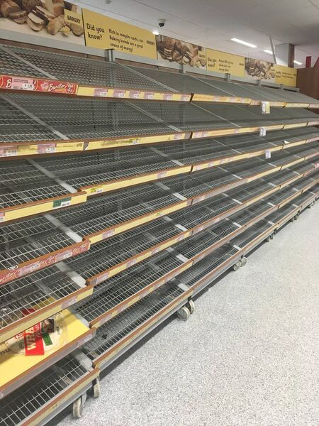 Panic buying as shelves empty in supermakets around the country ahead of the Beast from the East arrival.