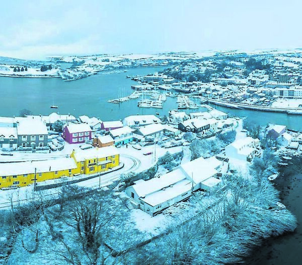 An aerial panoramic view of Kinsale Harbour as Storm Emma hit the south coast. Picture. John Allen
