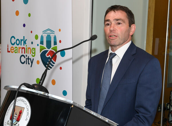 Denis Barrett, Cork Learning City co-ordinator, speaking at the presentation of certificates to recognise good practice in lifelong learning on Cork Learning Cities day, at the Atrium in City Hall.Picture: David Keane.27.09.2018