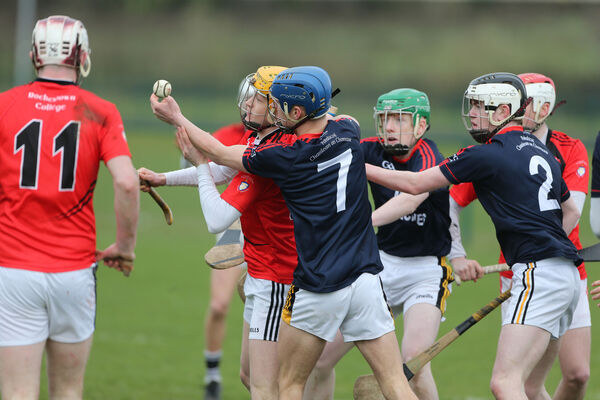 Rochestown's Alan Connolly and Castlecomer CS' Chris O'Keeffe. Picture: Patrick Browne