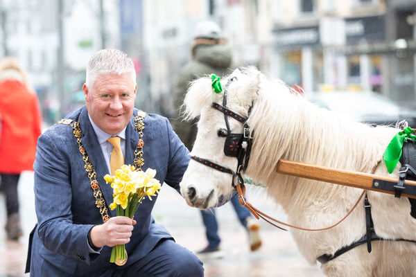 Lord Mayor Mick Finn with Dolly from the Cork City Fire Brigade while collecting for Daffodil Day in aid of the Irish Cancer Society.	Picture: Darragh Kane