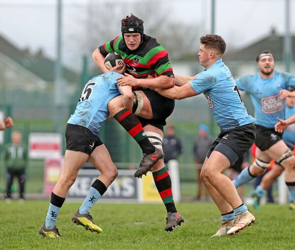 Dave O'Connell, Highfield, battles Ewan Strang and James Kennedy, Galwegians. Picture: Jim Coughlan