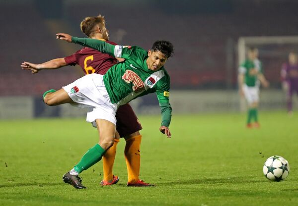 Denzil Fernandes, playing for Cork City against Roma in 2016. Picture: Jim Coughlan.