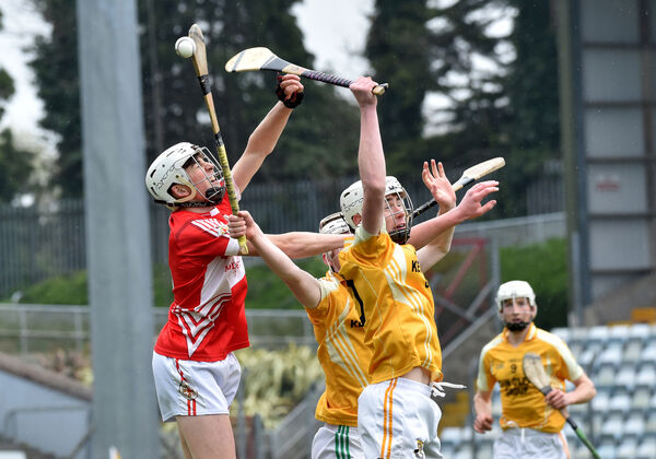 Darren O'Donovan, Hamilton High, Bandon fighting for this high ball with Ciaran Joyce, Midleton CBS. Picture Dan Linehan
