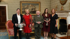 The Cork camogie teams were special guests at the Arás