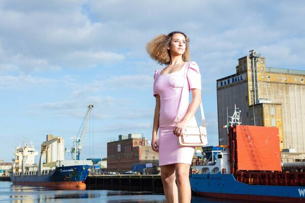 Sara Donovan, pictured at Port of Cork Marina in Spring/Summer 2019 fashion from Silk Peaches and Gentleman's Quarters during UCC's Next Top Model 2019. Picture: Michael O'Sullivan /OSM PHOTO
