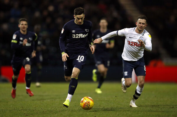 Derby County's Tom Lawrence gets away from Preston North End's Alan Browne. Picture: Martin Rickett/PA Wire.