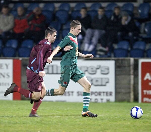 Adam Thompson, Cobh Ramblers, battles with Alan Browne, Cork City U19s. Picture: Jim Coughlan.