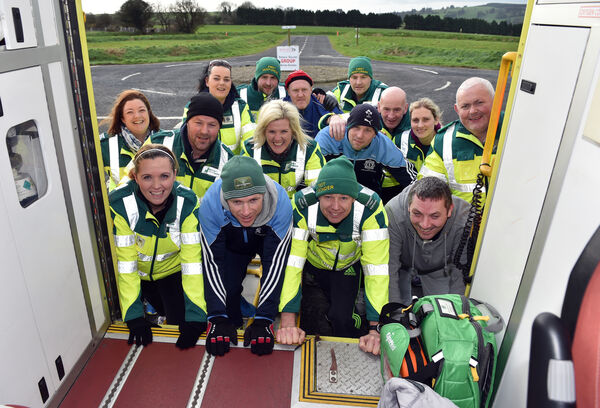 North Cork first responders and Gardaí pushing an ambulance during training at the Munster Driving Campus, Picture: Eddie O'Hare