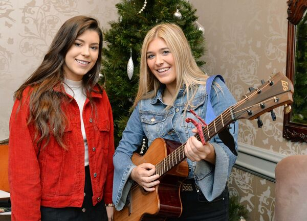 Niamh Kennedy (left) and Cheyenne Stewart, Templemore, at auditions for Britain's Got Talent in the Ambassador Hotel. Picture Denis Minihane.
