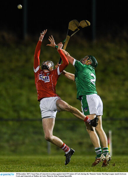 Sean Finn of Limerick in action against Jack O'Connor last December. Picture: Eóin Noonan/Sportsfile