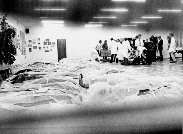 Denis Minihane's dramatic picture of bodies from the Air India Flight 192 air disaster in 1985 in a temporary morgue at Cork Regional Hospital.
