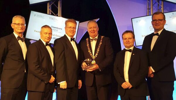 Pictured is the Lord Mayor of Cork, Cllr Mick Finn (3rd from right) collecting the Excellence of Local Government Award for Innovation for the Bishopsgrove supported housing project.