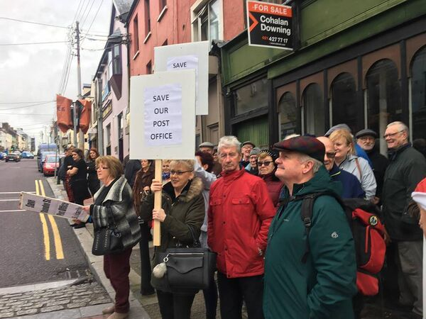 Protestors campaigning to save the post office on Shandon Street