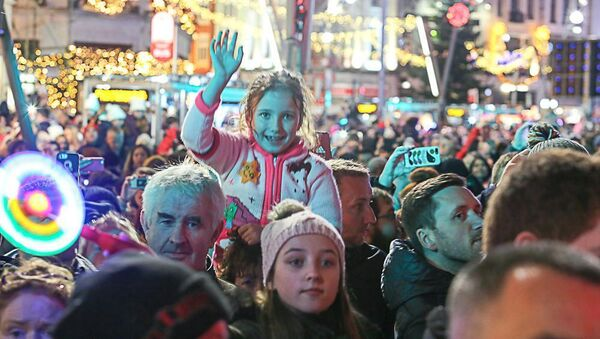 Some of 20,000 spectators who turned out to see the Christmas lights switched on on Sunday. Picture: Aperture Photography