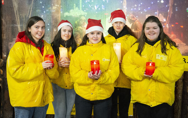Becky Lyons Ballincollig, Molly Hogan Ballincollig, Sinead Buckley Douglas, Shauna Lane Ballyvolane and Katie Jones Douglas pictured at the blessing of the SHARE crib on Daunt Square Cork. Picture: Gerard McCarthy