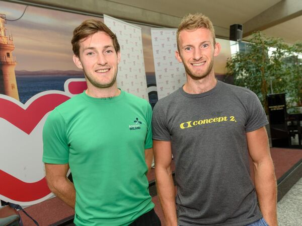 Irish rowers Gary and Paul O'Donovan pictured at Cork Airport on their return from Lucenre where they took gold in the lightweight men's double sculls A final at the World Rowing Cup.Picture: Provision
