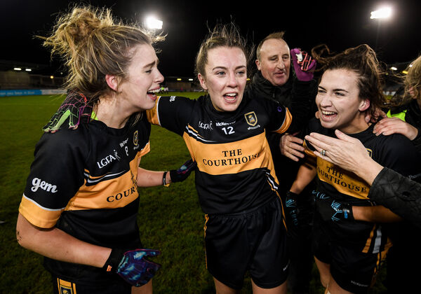 Mourneabbey's Marie O'Callaghan, Niamh O'Sullivan and Bríd O'Sullivan celebrate. Picture: Stephen McCarthy/Sportsfile