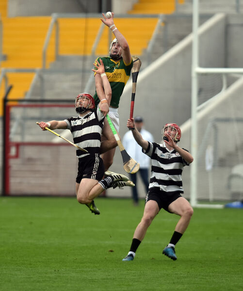 Newtown's Tim O'Mahony climbs high to win the ball in the Páirc. Picture: Eddie O'Hare