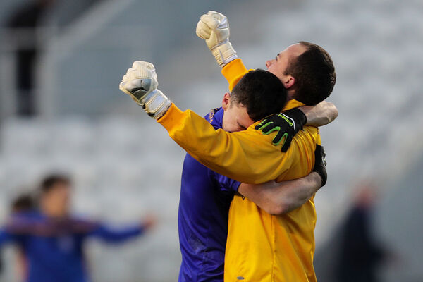 The Barrs John Kerins and Colm Scully celebrate. Picture: INPHO/Laszlo Geczo