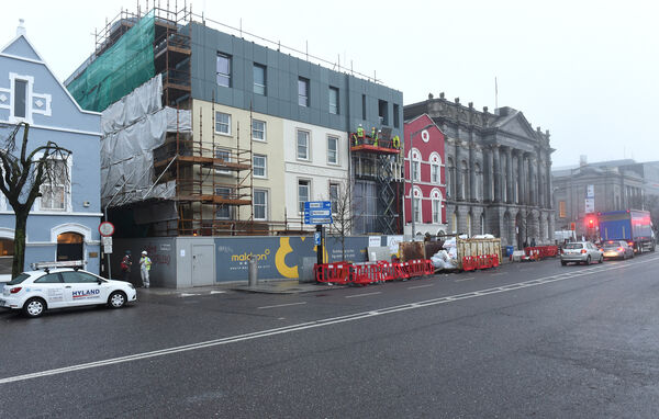 Workers putting the finishing touches to the exterior of the new Maldron Hotel, South Mall, Cork City. It's due to open on Tuesday.Pic; Larry Cummins