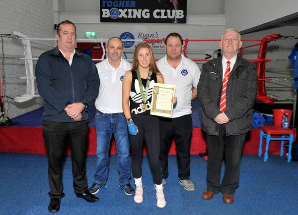 Nycole Hayes, her Togher BC coaches Micky Olden and Shane Forde, with John Wiseman and Michael O'Brien, Cork County Boxing Board. Picture: Doug Minhane.