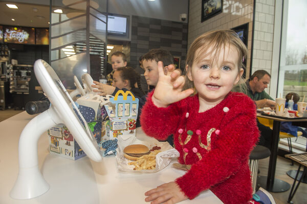 Olivia Mc Namara from Fermoy with her brother Alex at the opening of the new McDonald's restaurant located at junction 14 on the M8 in Fermoy.Pic Michael Mac Sweeney/Provision