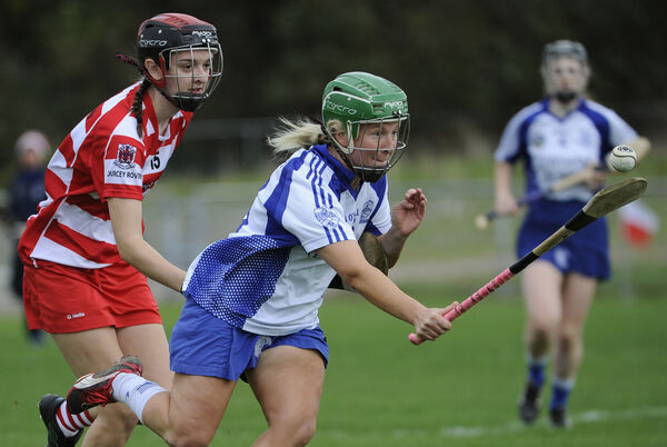 Milford's Elaine O'Riordan takes on Courcey Rovers' Grainne Hannon. Picture: Gavin Browne