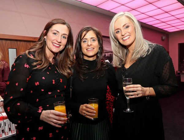 Jacqueline Limrick, Ballinlough, Joanna Donegan, Ahiohill and Siobhán Lambert, Riverstick, at the Women's Little Christmas ladies Lunch and fashion showcase in aid of Breakthrough Cancer Research, at the Cork International Hotel, Airport Business Park.	Picture: Jim Coughlan