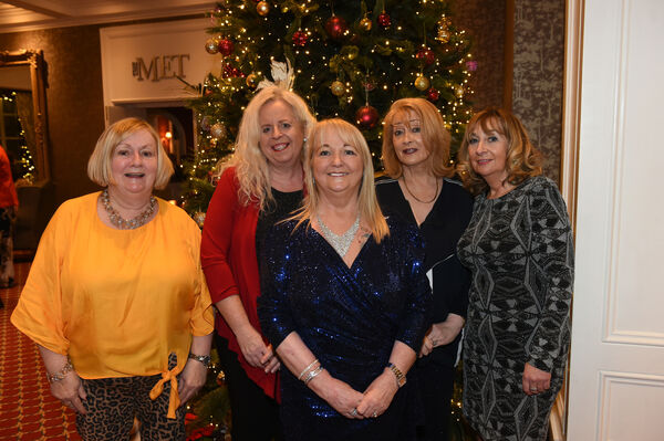 Nollaig na mBan Women's Little Christmas at The Metropole Hotel.Women from Douglas and Rochestown; Carmel O'Sullivan, Elaine O'Connell, Elizabeth Corcoran, Noreen Gillen and Norma O'Donovan.Pic; Larry Cummins