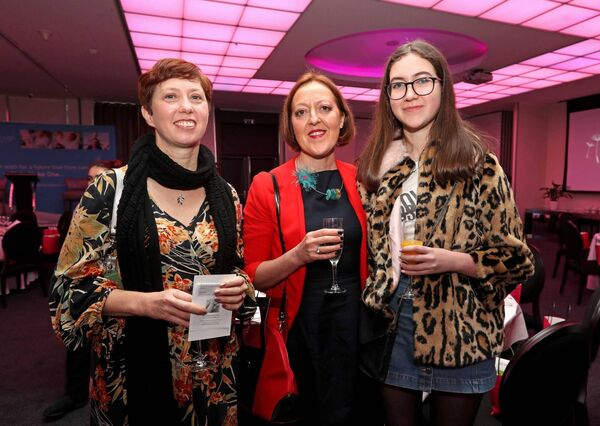 Cliona Watkins, with Frances and Eve Drummond- Mackrill, all from Montenotte, at the Women's Little Christmas Ladies Lunch & Fashion Showcase in aid of Breakthrough Cancer Research, at the Cork International Hotel, Airport Business Park, Cork. Picture: Jim Coughlan