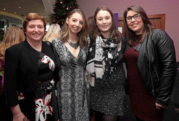 Monica Keane, Glenville, Lorraine Carroll, Whites Cross, Christina Kiely, Glenville and Fiona Schulte, Ballincollig, at the Women's Little Christmas Ladies Lunch & Fashion Showcase in aid of Breakthrough Cancer Research, at the Cork International Hotel, Airport Business Park, Cork. Picture: Jim Coughlan