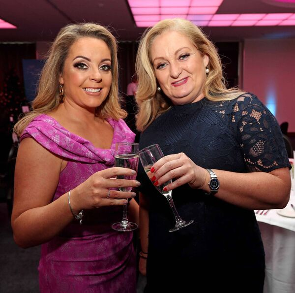 Joanne O'Leary, Glanmire and Margo O'Connor, Silver Springs, at the Women's Little Christmas Ladies Lunch & Fashion Showcase in aid of Breakthrough Cancer Research, at the Cork International Hotel, Airport Business Park, Cork. Picture: Jim Coughlan