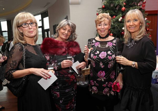 Gillian Connolly, Wilton, Patrica Hartnett, Blarney Road, Rona Coulter, Glasheen and Fabienne Moloney, Blackrock , at the Women's Little Christmas Ladies Lunch & Fashion Showcase in aid of Breakthrough Cancer Research, at the Cork International Hotel, Airport Business Park. Picture: Jim Coughlan