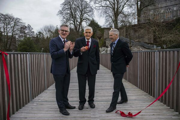 The Cavanagh bridge was officially opened to the public today at UCC by the President of UCC, Professor Patrick O' Shea, Dr Tom Cavanagh and Mark Poland, Director of Buildings & Estates, UCC. The 27 metre pedestrian bridge was designed by O'Donnell + Tuomey architects and links Perrotts Inch on the North Bank to the lower grounds of the main campus in UCC, with a new access onto the Western road. The bridge is open to the public from 8am to 7pm. The bridge was supported by the TOMAR Trust. Picture: Clare Keogh