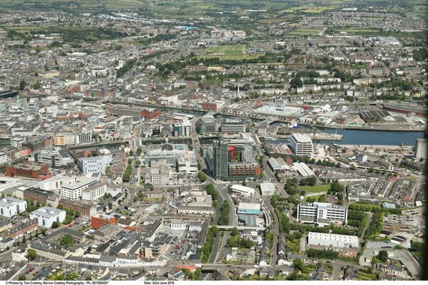 An aerial view of Cork city