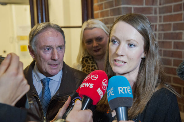Michael Collins, father and Carly Collins, sister of the late Nicola Collins pictured after Cathal O'Sullivan (45) was convicted of the murder of mother of three Nicola Collins. Pic Daragh Mc Sweeney/Cork Courts