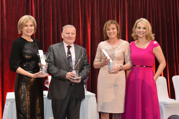 RTE Nationwide were recognised with an award; Ann Cassin, Eoin Ryan, Mary Kennedy with event MC Claire Byrne, RTE. Pic; Larry Cummins