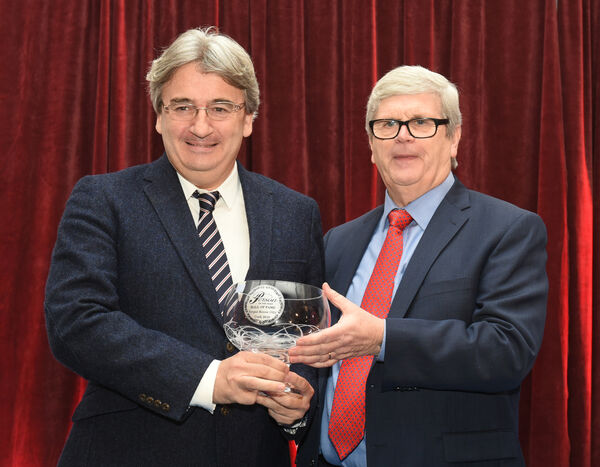 Hall of Fame Award winner is Fergal Keane, BBC journalist and author, with awards organiser Manus O'Callaghan presenting his prize. Pic; Larry Cummins