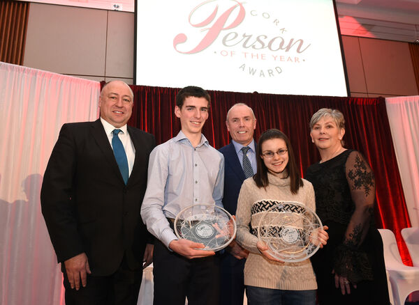 Cork Person of The Year Award 2018 went to Simon Meehan and Eilise Ireland, award winning science students with competition judges Tim Lucey and Ann Doherty and (left) Ronan McManamy managing director of sponsors Irish Examiner.Pic; Larry Cummins