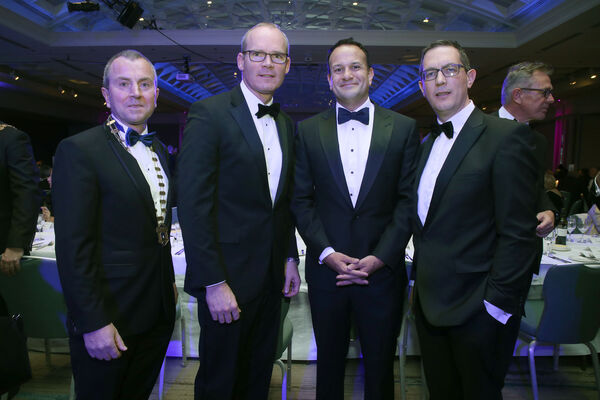 Pictured at the Cork Chamber's Dublin Dinner held in association with EY, Conor Healy, Cork Chamber CEO; An Taoiseach Leo Varadkar TD; Tanaiste Simon Coveney TD and Bill O'Connell, Cork Chamber President. NO REPRO FEE