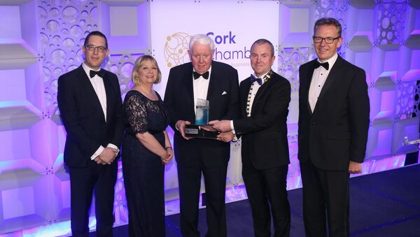 Frank Boland receives Outstanding Contribution to Business Award 2018 at Cork Chamber's Dublin Dinner held in association with EY. Pictured are Conor Healy, Cork Chamber; Paula Cogan, Cork Chamber Vice President; Frank Boland; Bill O'Connell, Cork Chamber President; John Higgins, Managing Partner EY Cork.Picture: Finbarr O'Rourke