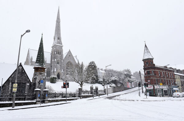 The snow scene at Trinty Presbyterian Church, Summerhill North, Cork on Friday, March 2, 2018. Pic; Larry Cummins