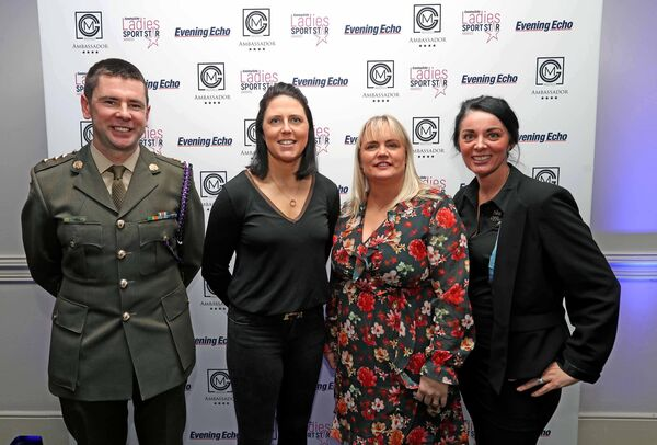 Gemma O'Connor (2nd from left) with Capt Gavin Looney, Sharon Bones and Bernie Hart at the Evening Echo Ladies Sports Star of the Year Awards, at the Ambassador Hotel, Cork.Picture: Jim Coughlan.