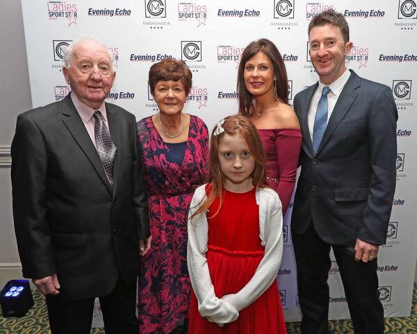 Phil Allen, (2nd from left) with family, Vincent Allen, Mollie, Regina and Ken Allen at the Evening Echo Ladies Sports Star of the Year Awards, at the Ambassador Hotel, Cork.Picture: Jim Coughlan.