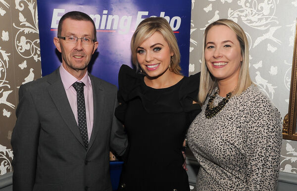 Anna Geary with Rory Noonan and Nicola Cullinane, both Evening Echo. Picture: David Keane.