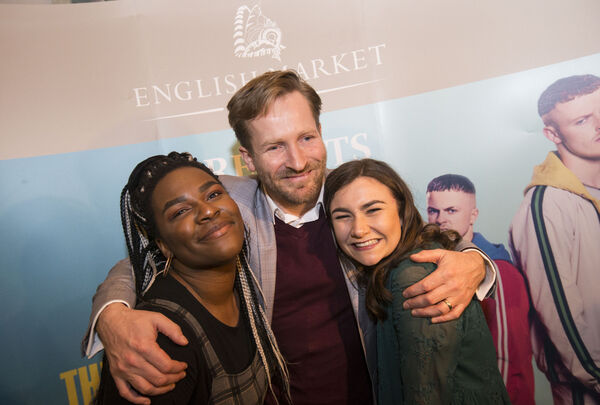Director Peter Foott with cast members Jennifer Barry and Demi Isaac Oviawe at The Young Offenders official season finale premiere hosted by The English Market.Photo: Cathal Noonan