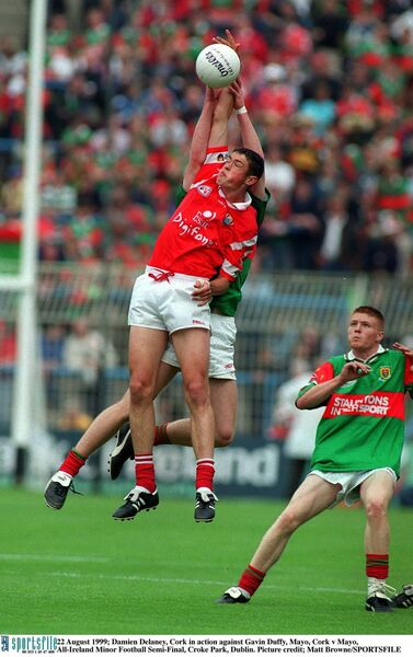 Damien Delaney taking on Mayo in 1999. Picture: Matt Browne/SPORTSFILE