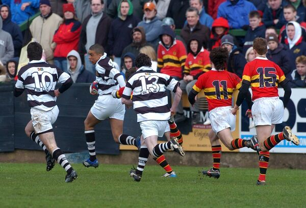Simon Zebo races to score the opening try for Pres against CBC in 2007. Picture: Eddie O'Hare
